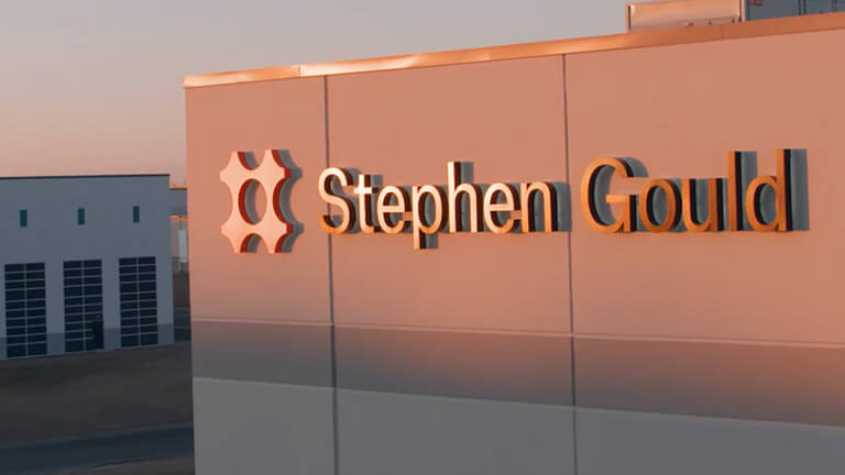 Stephen Gould logo on side of office building